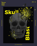 Exploding Polygonal Skull. Abstract Vector Poster Template. Modern Minimal Typography. Creative Background for Your. Invitation, Party Flyer or Greeting Card Royalty Free Illustration