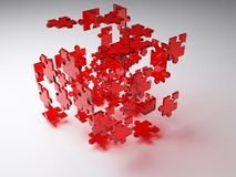 Exploding puzzle cube Royalty Free Stock Photo