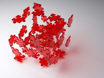 Exploding puzzle cube Royalty Free Stock Images