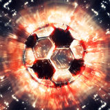 Exploding soccer ball Royalty Free Stock Photo