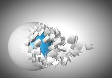 Exploding sphere abstract 3d shpaes. Background vector illustration