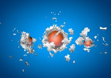 Exploding sphere abstract 3d shpaes. Background royalty free illustration
