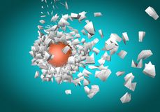 Exploding sphere abstract 3d shpaes. Background Royalty Free Stock Images