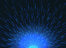 Exploding star in space vector abstract blue background for event poster. Star light and bright magic firework illustration Royalty Free Stock Images