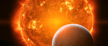 Exploding sun in space close to planet Earth Royalty Free Stock Image