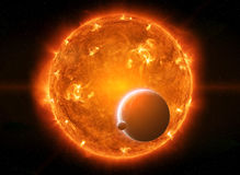 Exploding sun in space close to planet Earth and moon Royalty Free Stock Photo