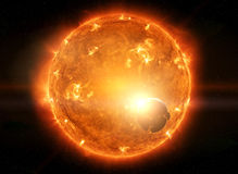 Exploding sun in space close to planet Earth and moon Stock Photos