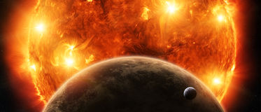 Exploding sun in space close to planet Earth and moon Royalty Free Stock Photography