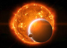 Exploding sun in space close to planet Earth and moon Royalty Free Stock Image