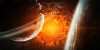 Exploding sun in space close to planet Royalty Free Stock Image