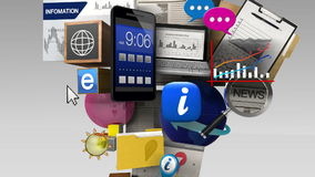 Exploding various information contents in the smart phone, mobile device stock video footage