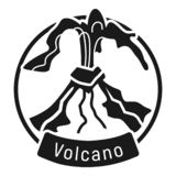 Exploding volcano logo, simple style vector illustration