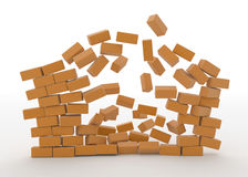 Exploding Wall. 3d orange block wall exploding, front view vector illustration