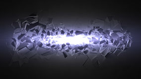Exploding wall with light beam. 3d exploding wall. with light beam Royalty Free Stock Image