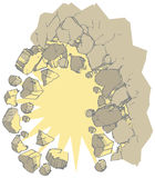 Exploding Wall Vector Clip Art. Vector clip art illustration of a wall exploding outward creating rubble or debris. Ideal for use as a customizable graphic vector illustration