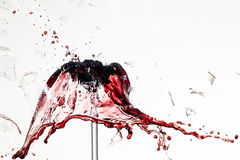 Exploding wineglass. Glass of redwine breaks and the wine spurs out Stock Photography