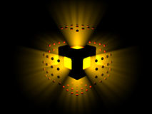Exploding Yellow Light and Red Spheres. Yellow/orange light exploding outward from the object that held it captive Royalty Free Stock Photos