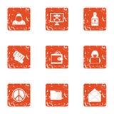 Exploit icons set, grunge style. Exploit icons set. Grunge set of 9 exploit vector icons for web isolated on white background Royalty Free Stock Photography