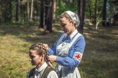 Exploit oublié Ligne reconstitution historique militaire de Stalin images libres de droits