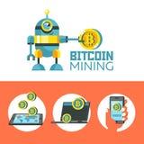 Exploitation de Bitcoin Le robot mignon produit des bitcoins Vecteur Illustratio illustration libre de droits