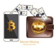 Exploitation de Bitcoin de vecteur de Digital de téléphone Transferts de portefeuille de Cryptocurrency dans des concepts de chas illustration libre de droits