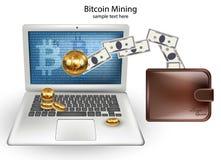 Exploitation de Cryptocurrency Bitcoin de vecteur de Digital, transferts à partir des concepts d'ordinateur portable illustration libre de droits
