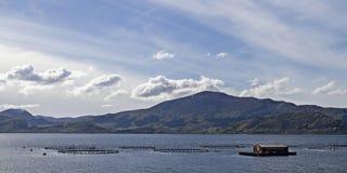 Exploitation de pisciculture en Norvège Images stock