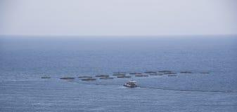 Exploitation de pisciculture sur la côte d'Aguilas, Murcie image libre de droits