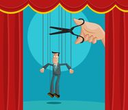 Exploitation of employee. Hand cutting the strings of a puppet businessman, Exploitation Concept Royalty Free Stock Photography
