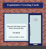 Exploitative greeting card shop. With made up celebration day Vector Illustration