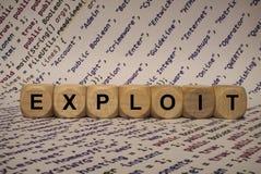 Exploiteer - kubeer met brieven en woorden van de computer, software, Internet-categorieën, houten kubussen royalty-vrije stock foto