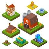 Exploração agrícola ajustada na vista isométrica Fotos de Stock