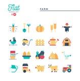 Exploração agrícola, animais, terra, produção alimentar e mais, ícones lisos ajustados Imagem de Stock
