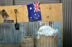 Exploração agrícola australiana da tosquia de ovinos Imagens de Stock