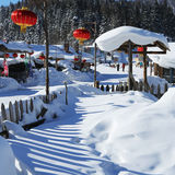 A exploração agrícola bimodal da floresta na província de heilongjiang - vila da neve fotografia de stock
