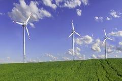 Exploração agrícola das turbinas de vento Foto de Stock