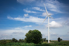 Exploração agrícola das turbinas de vento Fotografia de Stock