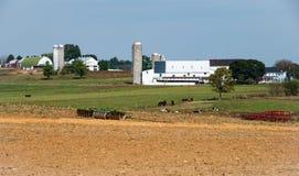 Exploração agrícola de Amish com equipamento agrícola do vintage fotos de stock