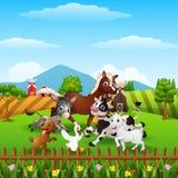 Exploração agrícola de animais que joga em montes Imagem de Stock Royalty Free