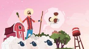 Exploração agrícola de Breeding Sheep Wool do fazendeiro ilustração royalty free