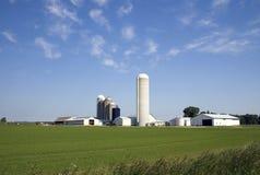 Exploração agrícola de leiteria de Midwest Fotografia de Stock