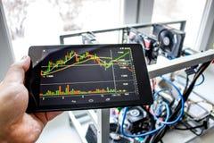 Exploração agrícola de mineração da casa para o cryptocurrency de mineração imagens de stock