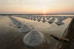 Exploração agrícola de sal, bandeja de sal em Tailândia Fotografia de Stock