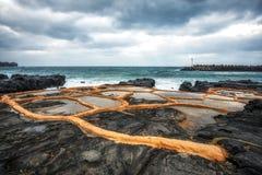 Exploração agrícola de sal da pedra de Gueomri fotografia de stock royalty free