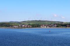 Exploração agrícola de vento de Ardrossan, Ayrshire norte, Escócia foto de stock royalty free