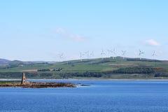Exploração agrícola de vento de Ardrossan, Ayrshire norte, Escócia fotos de stock