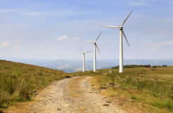 Exploração agrícola de vento de Penrhyddlan e de LLidiartywaun imagens de stock