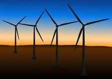 Exploração agrícola de vento no por do sol Fotografia de Stock