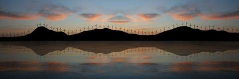 Exploração agrícola de vento no por do sol ilustração do vetor