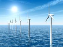 Exploração agrícola de vento a pouca distância do mar Foto de Stock